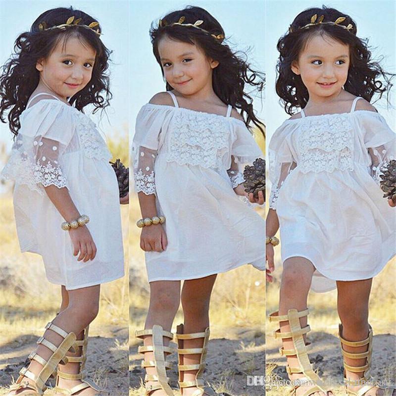 Vestiti svegli poco costosi delle ragazze di fiore del paese le cinghie di spaghetti del merletto Vestiti brevi del partito di cerimonia nuziale i piccoli bambini Vendita online