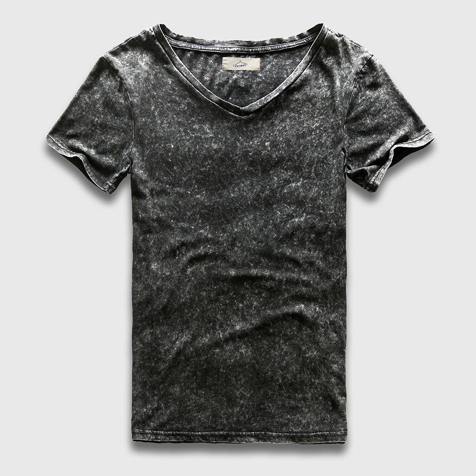 Black t shirt plain - Fashion Black T Shirt Men Slim Fit V Neck T Shirts For Men Vintage Plain Solid Cotton Top Tees Male Short Sleeve Heavy Washed Custom Shirt Black Shirts From