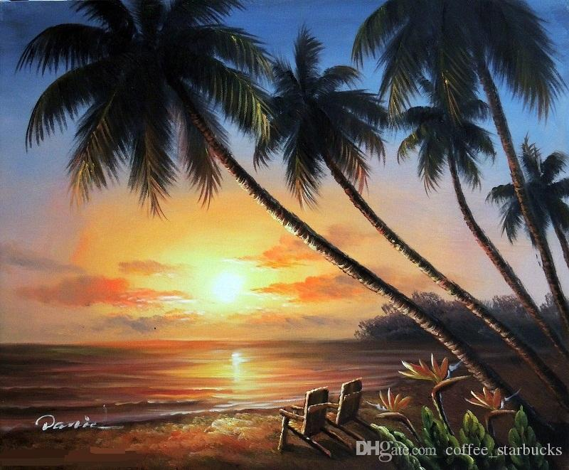 2018 Framed Hawaii Island Couple Chairs Sunset Beach Palm TreesHand Painted Seascape Art Oil Painting On CanvasMulti Sizes J024 From Coffee Starbucks