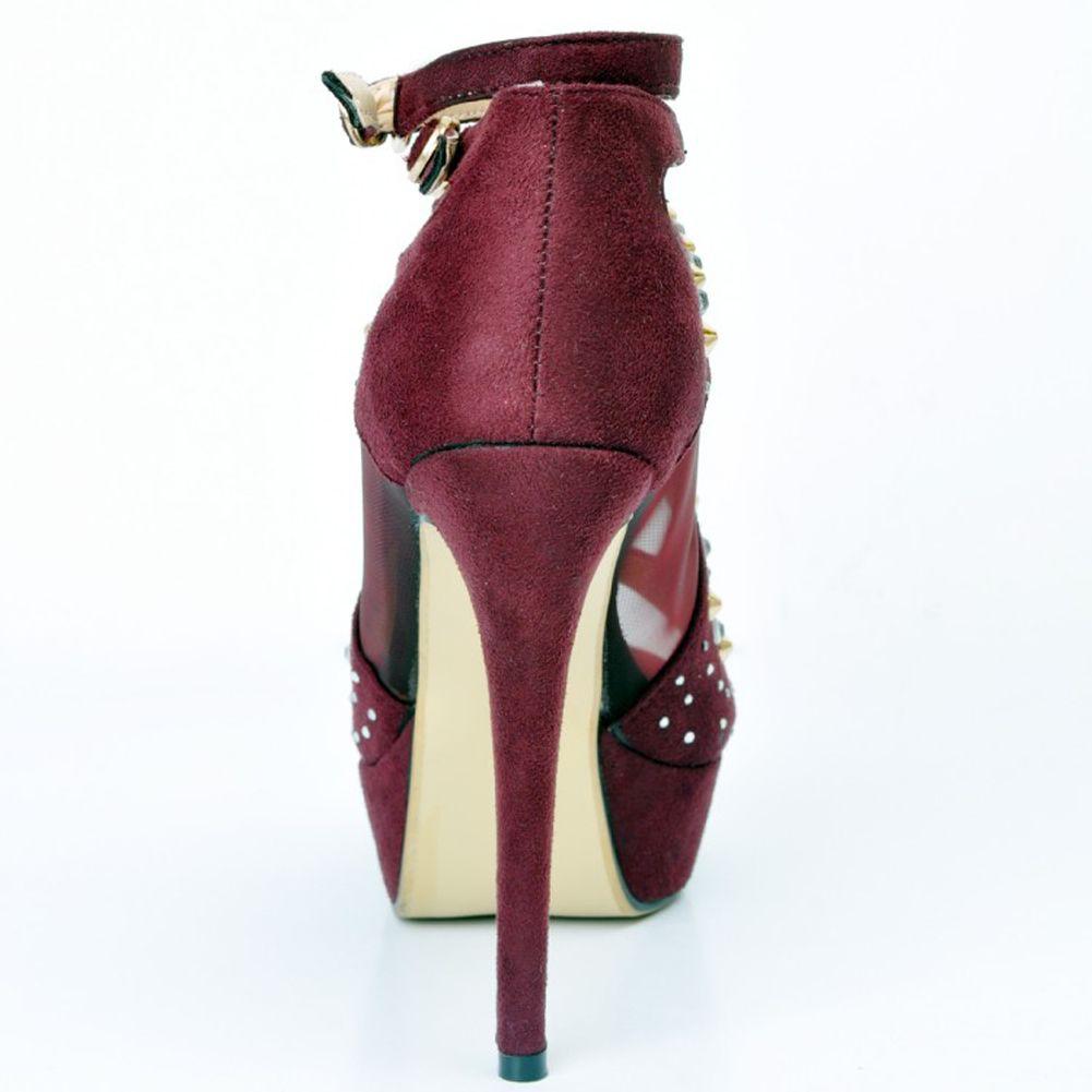Kolnoo Damen Nieten Spikes Peep-Toe- Absatz Plateau Sandalen Fashion Party Prom Freizeitschuhe Lila XD201