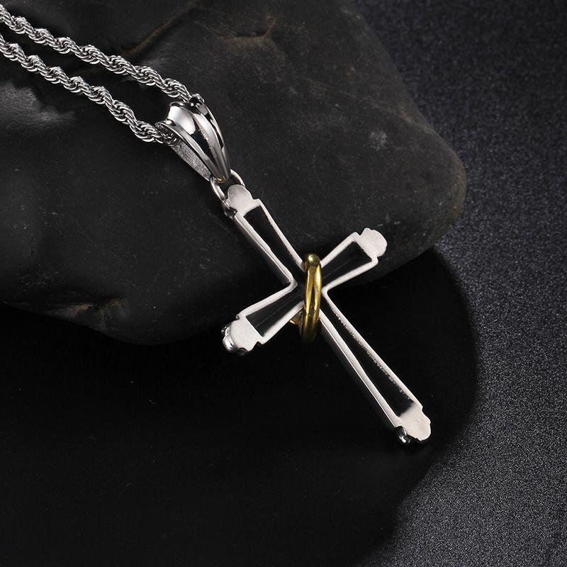 Bijuterias Finas Presentes 316L aço Inoxidável Biker Cross com Pequeno Crânio Do Ouro pingentes Colar Gótico dos homens 22 ''