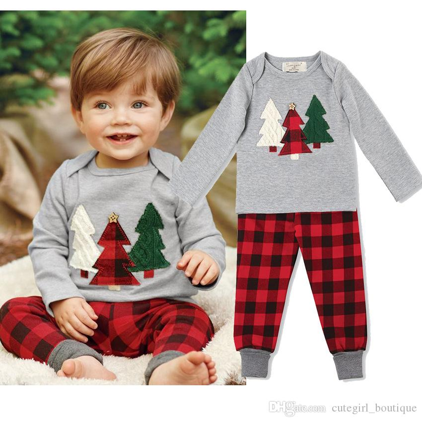 Children Christmas Outfits Infant Baby Xmas Tree Print T-shirt With Matching Red Plaid Long Pants Two Piece Sets Kids Cotton Clothing Suit