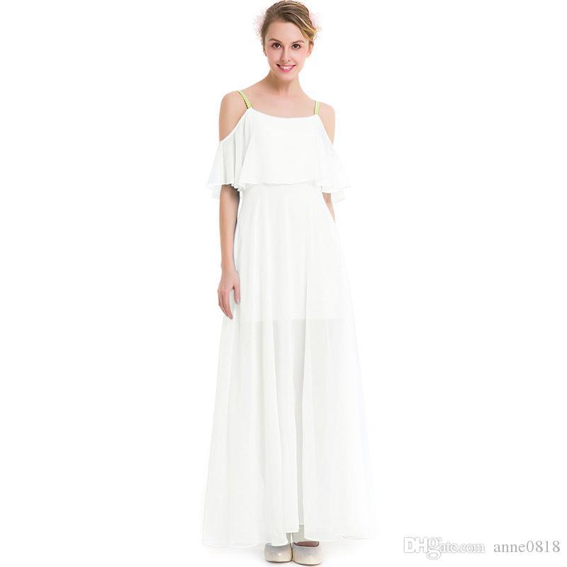 2017 yeni tasarım yaz kadınlar dress seksi spagetti kayışı katı uzun maxi plaj elbiseler kolsuz beyaz dress şifon s-3xl