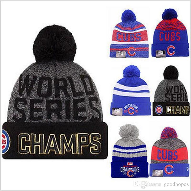 2016 World Series Champs Cubs Beanies High Quality Beanie MLB Caps For Men  Women Skull Caps Knit Hat Wholesale Official UK 2019 From Goodhopes 7a711306689