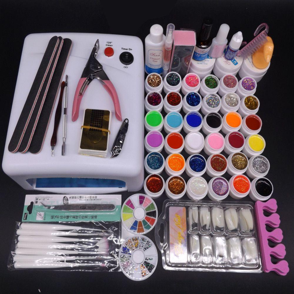 Wholesale Pro 36w Uv Lamp Nail Gel Kit 36 Uv Gel Solid Glitter Uv ...