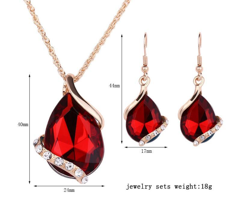 Rose Gold Chain Necklace Earrings Rhinestone Crystal Waterdrop Pendant Necklace Fish Ear Hook Earrings Jewelry Sets Wedding Prom Party Gift