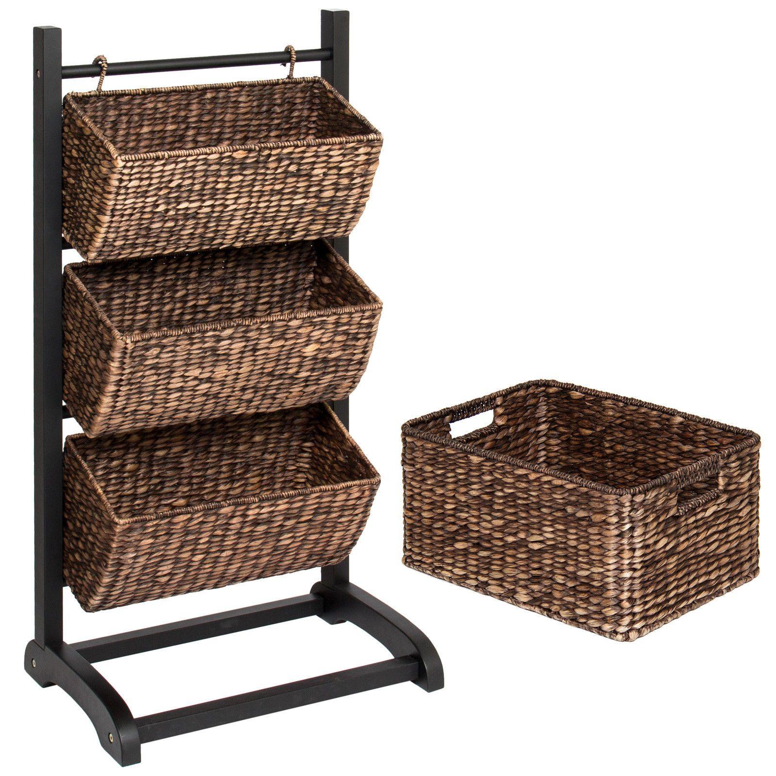 2018 Water Hyacinth 3 Tier Storage Cubby Metal Shelf W/ Bonus Basket  Brushed Espresso From Newlife2016dh, $90.46   Dhgate.Com