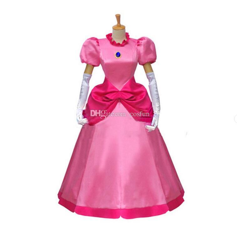 2017 The Game Super Mario Bros Cosplay Princess Peach Costume