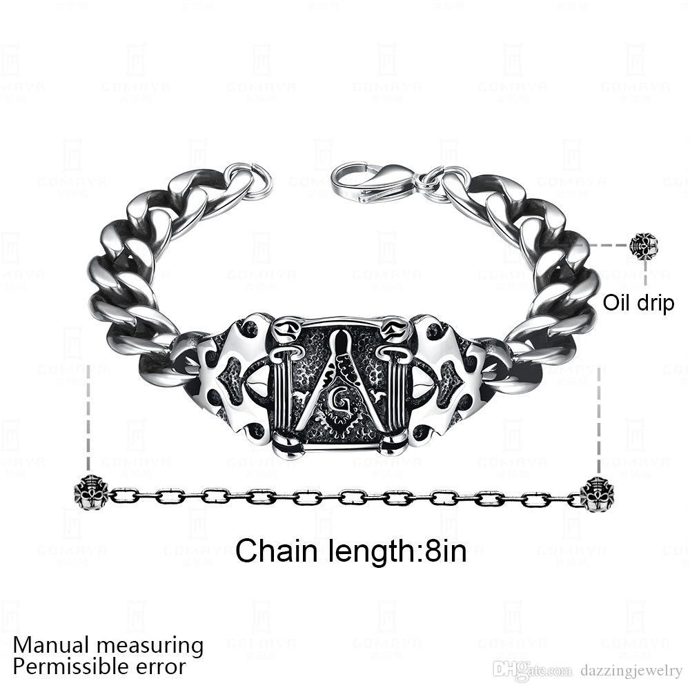 Nuovo bracciale massonico in argento massiccio con sigillo massonico in argento da uomo, con cinturino in argento retrò punk nero con gocce di olio nero