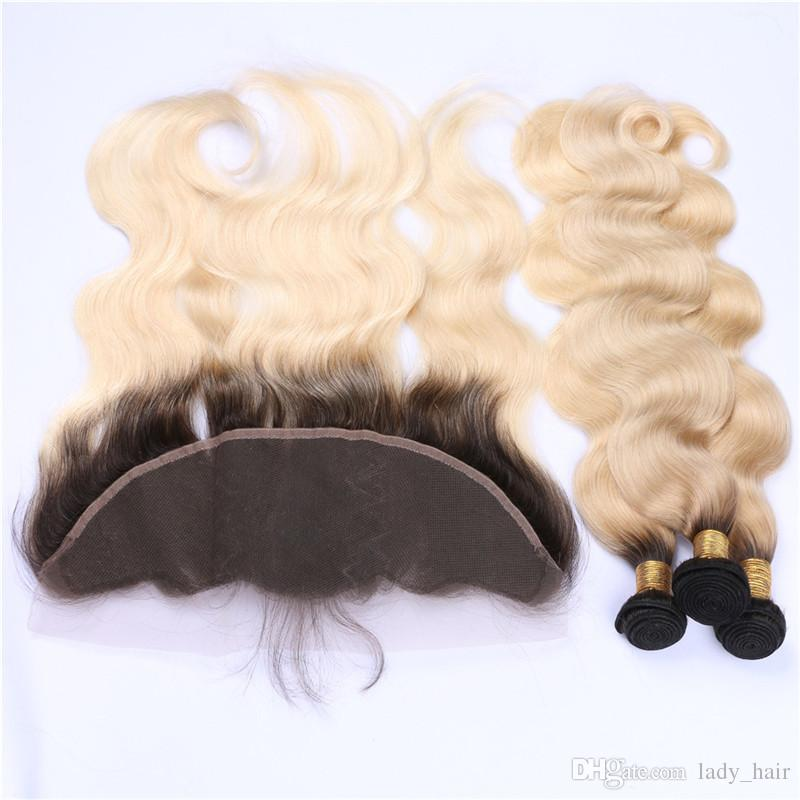 Two Tone 1B/613 Ombre Brazilian Virgin Hair 3 Bundles With Frontal Dark Roots Blonde Ombre 13x4 Lace Frontal Closure With Weaves Extensions