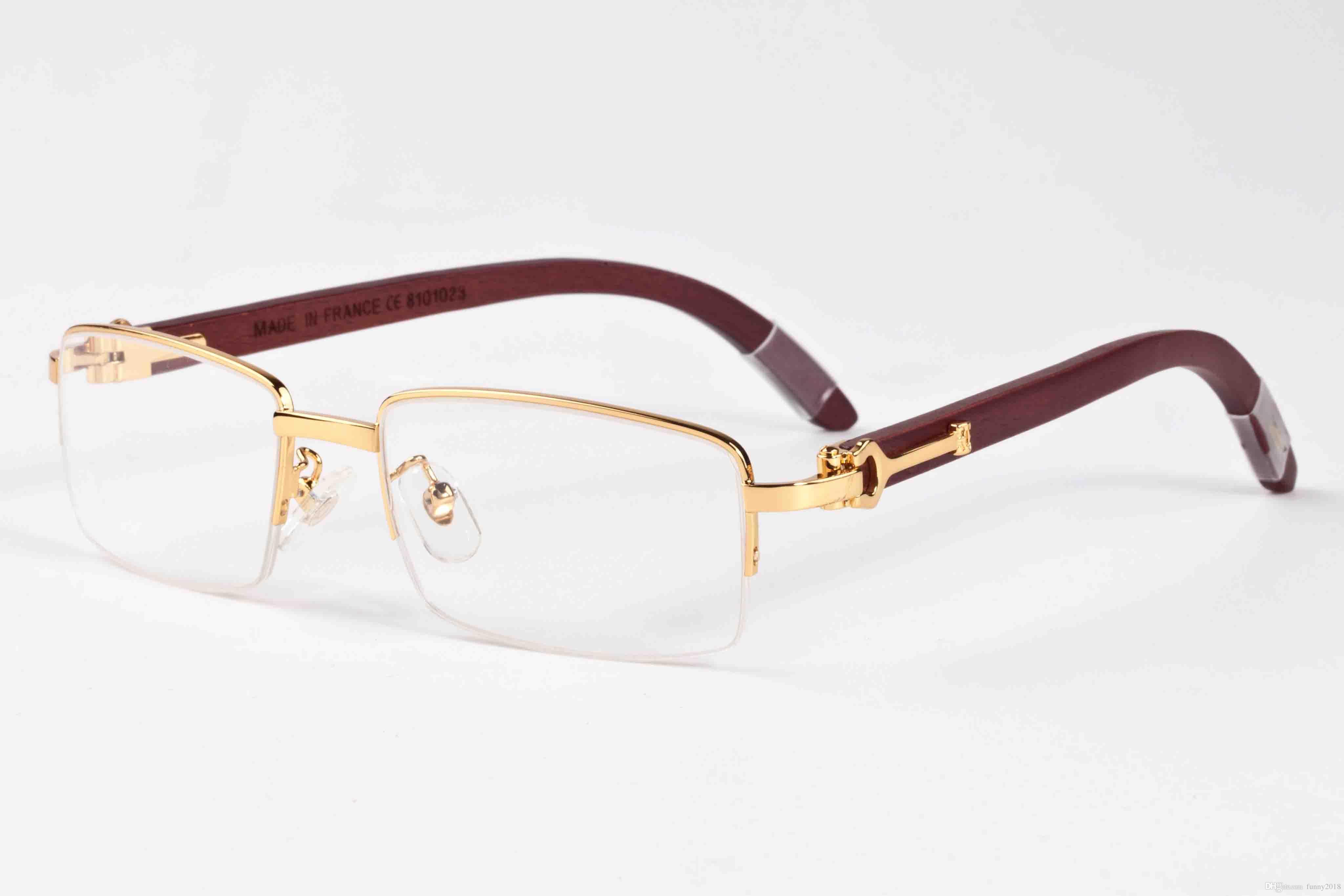 7d4b2838d1 2017 Fashion Classic Retro Style Sunglasses For Men Women Brand Designer  Glass Lens Buffalo Horn Sun Glasses Wood Half Frame With Box Sunglasses At  Night ...
