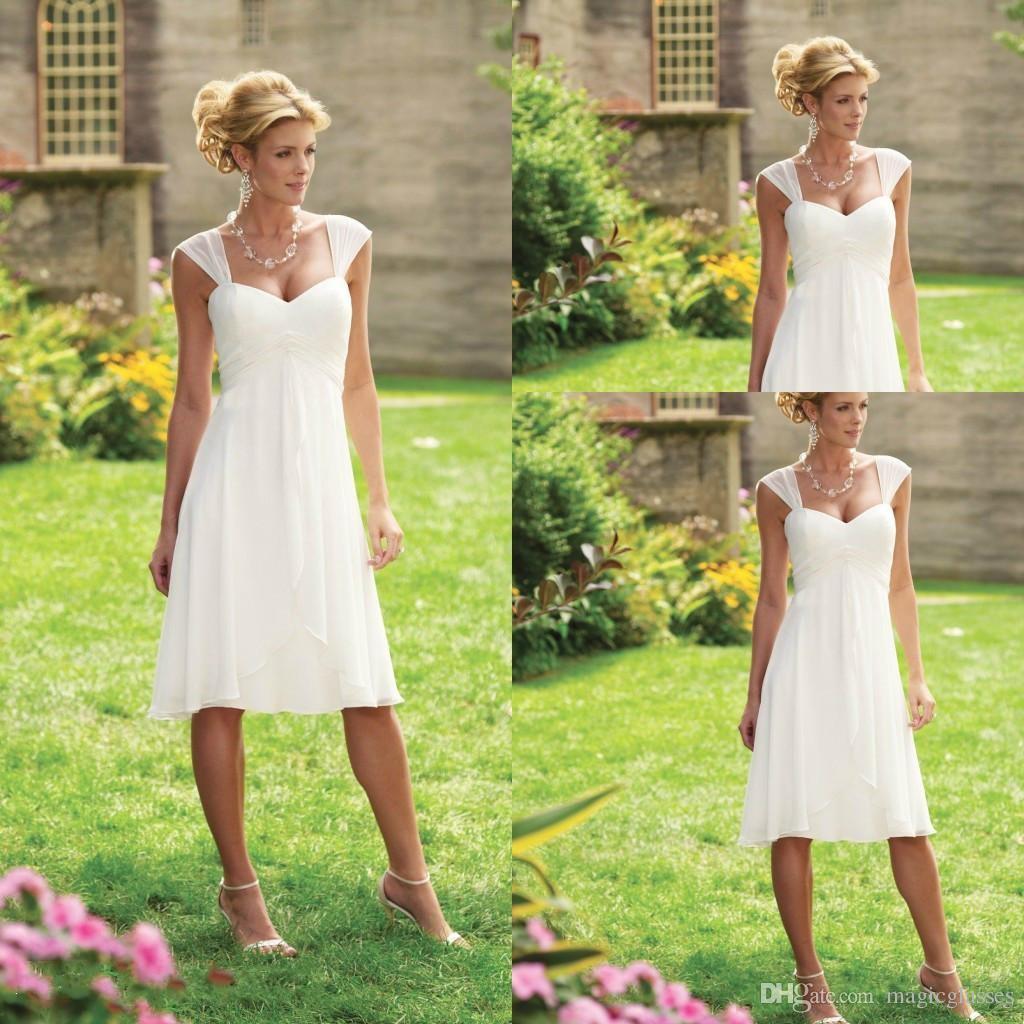 Simple Elegant Tea Length Chiffon Cap Sleeve Wedding: Discount Simple Cheap Tea Length Wedding Dresses Cap