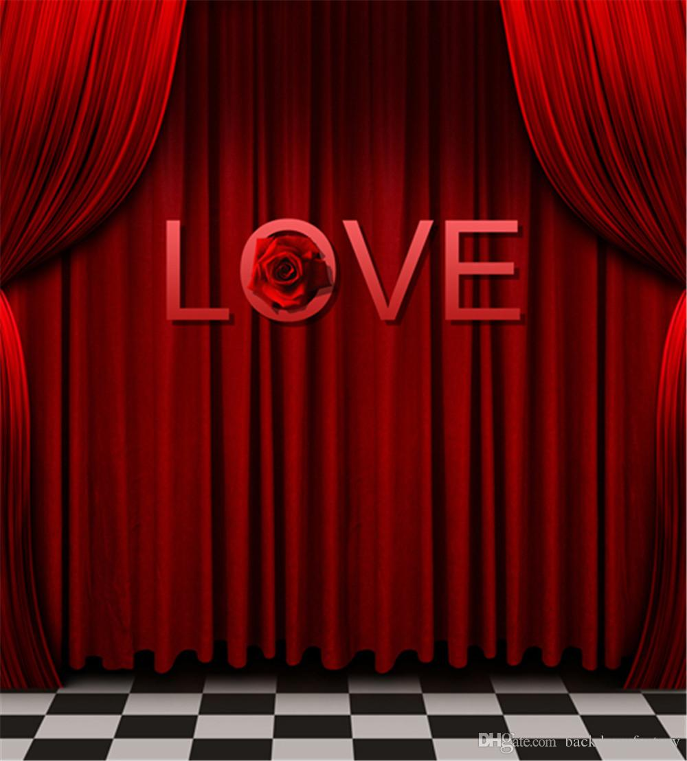 2018 Love Theme Wedding Photo Booth Backdrops Printed Red Curtain Merry Christmas Happy New Year Family Photography Studio Portrait Backgrounds From