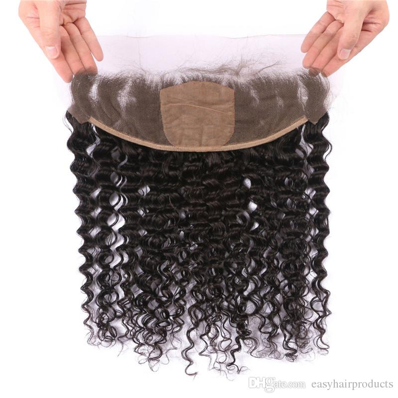 13*4 Indian Deep Wave Curly Hair Silk Base Frontal Closure With 3 Bundles Virgin Human Hair Extensions 8-30inch
