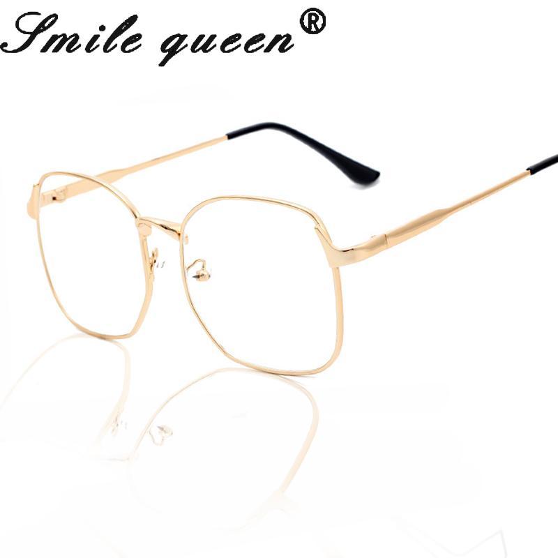 27b0abcd17676 Atacado- Moda Quadrado Óculos de Armação de Luxo de Metal de Ouro Armações  de Óculos Grandes Óculos de Computador Mulheres Molduras Ópticas Marca  Oculos De ...