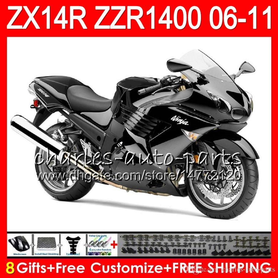 Body For Kawasaki Hot Black Ninja Zx 14r Zx14r 06 07 08 09 10 11 Hm41 Zzr 1400 Zzr1400 14 R Zx 14r 2006 2007 2008 2009 2010 2011 Fairing