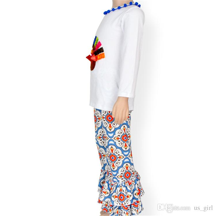 XMAS bébé garçons filles Thanksgiving Body à manches longues filles blanches Tops + Long Pantalon Chapeau Handband Tenues Set Enfants Vêtements Set Hiver
