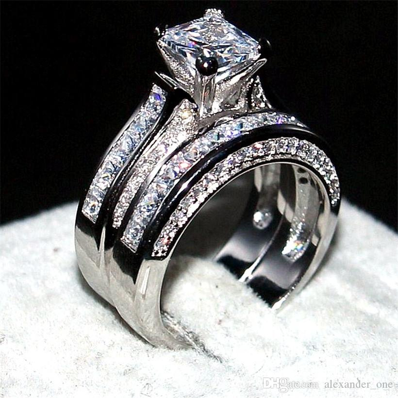 2018 Luxury Jewelry 14kt White Gold Filled Wedding Band Ring Finger For Women 2 In 1 15ct 77mm Princess Cut Topaz Gemstone Rings Set From Alexander One
