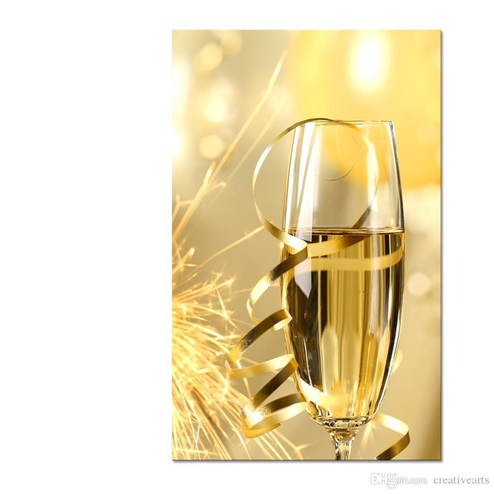 2018 Champagne Picture Canvas Wall Art Sparkling Wine Canvas ...