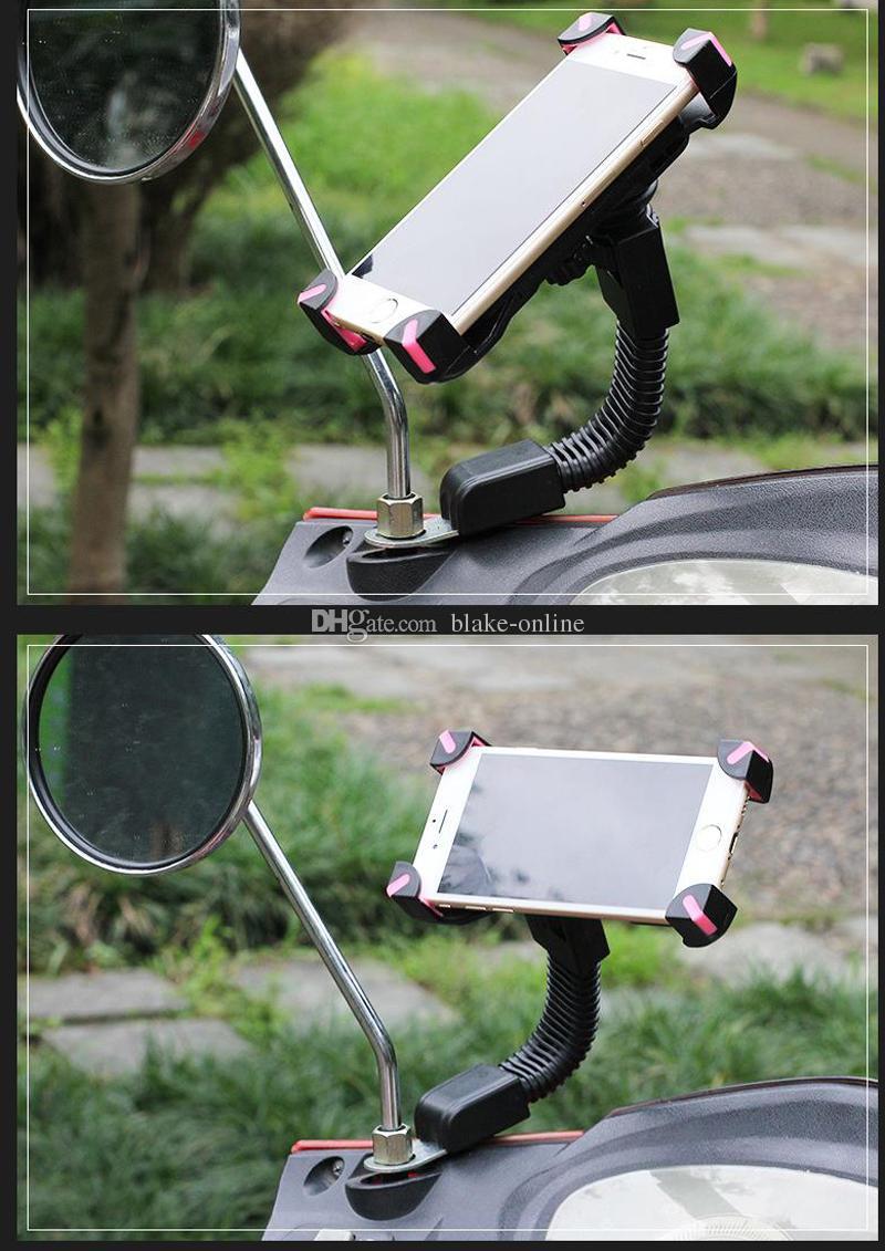 Evrensel Motosiklet Motosiklet Araç Montaj Tutucu Telefon Cep Telefonu GPS için Dikiz Aynası Montaj Braketi Standı