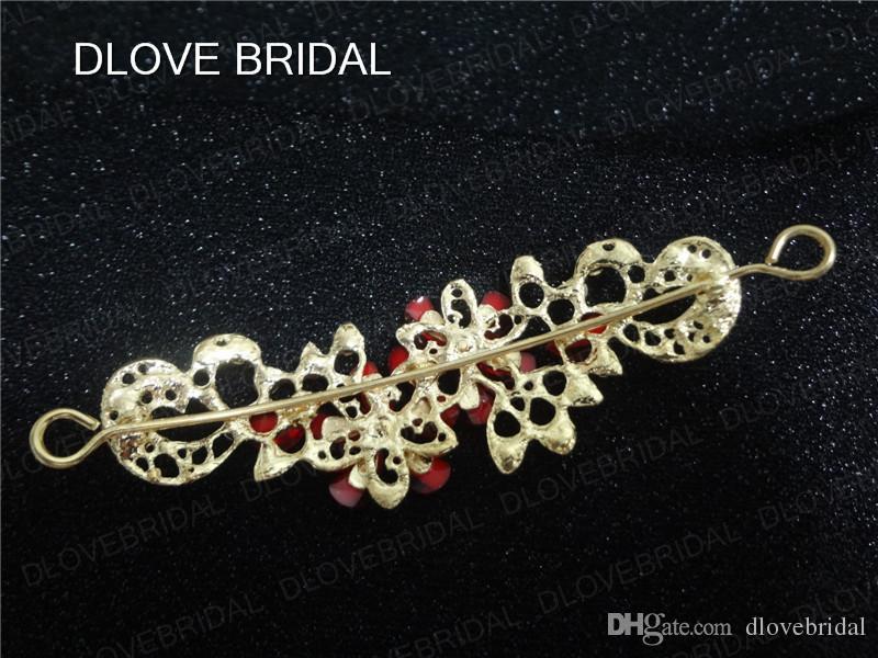 Real Photo Red White Tiara Vintage Crystal Wedding Crown Bridal Tiara Accessories Rhinestone Pageant Women Gift