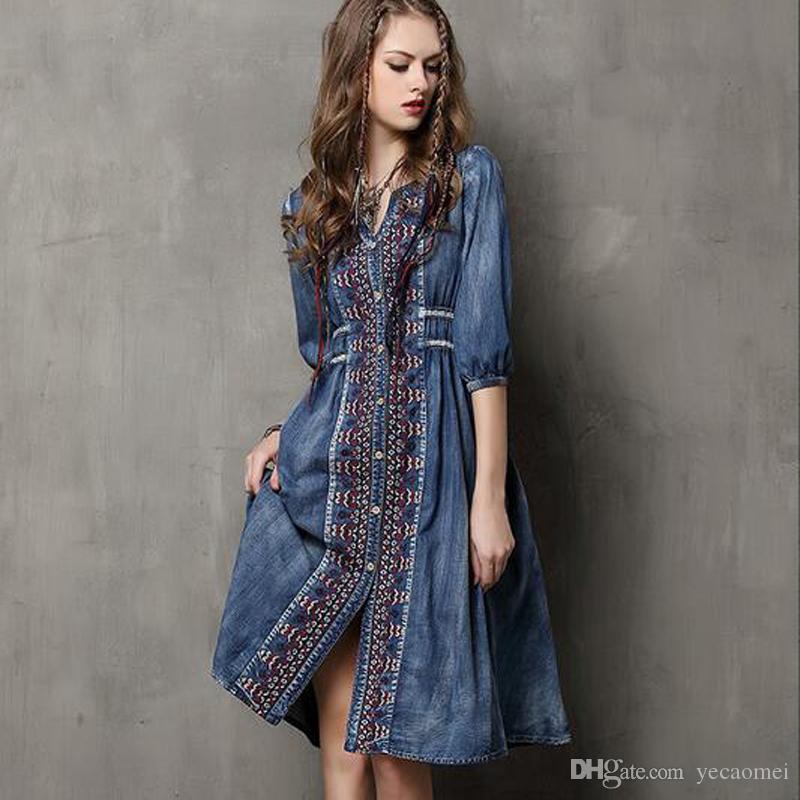 7f298603dd3 Compre Jeans Largos Vestido Largo Bordado Vestidos Para Mujer Moda Azul  Maxi Vestido De Fiesta Verano Otoño Más Tamaño Vestido Para Vacaciones A  $62.2 Del ...