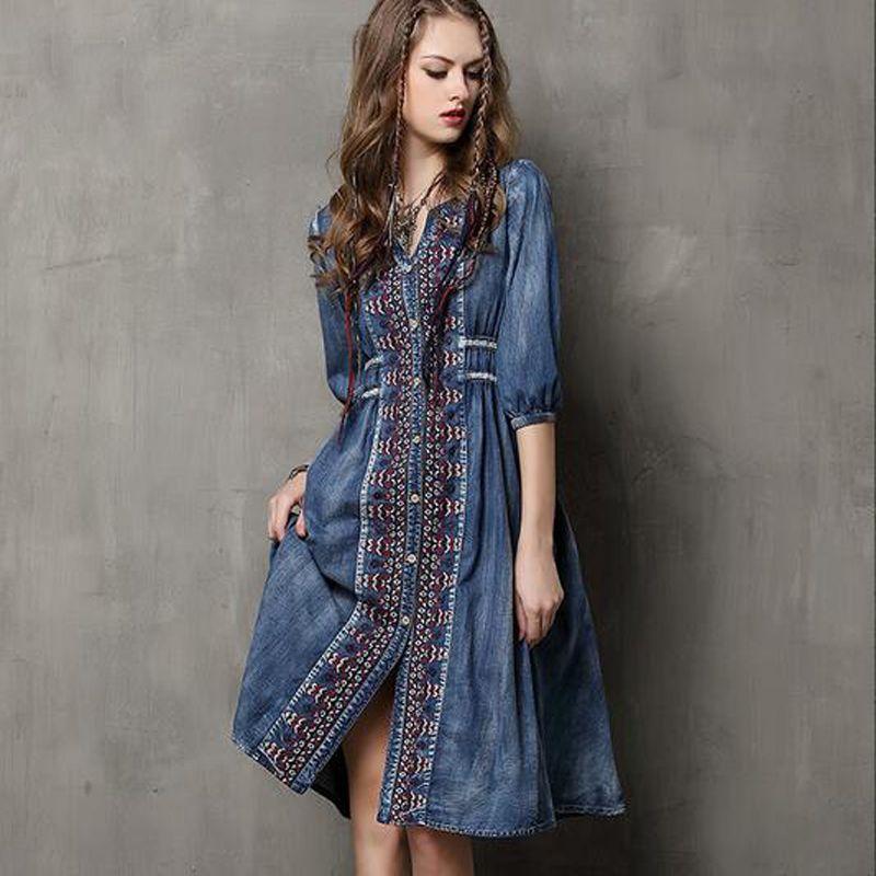 ad9a27b06f65f Satın Al Kadınlar Için Vintage Jeans Uzun Elbise Nakış Elbiseler Bayanlar Moda  Mavi Maxi Parti Elbise Yaz Güz Artı Boyutu Elbise Tatil Için, $62.2 |  DHgate.