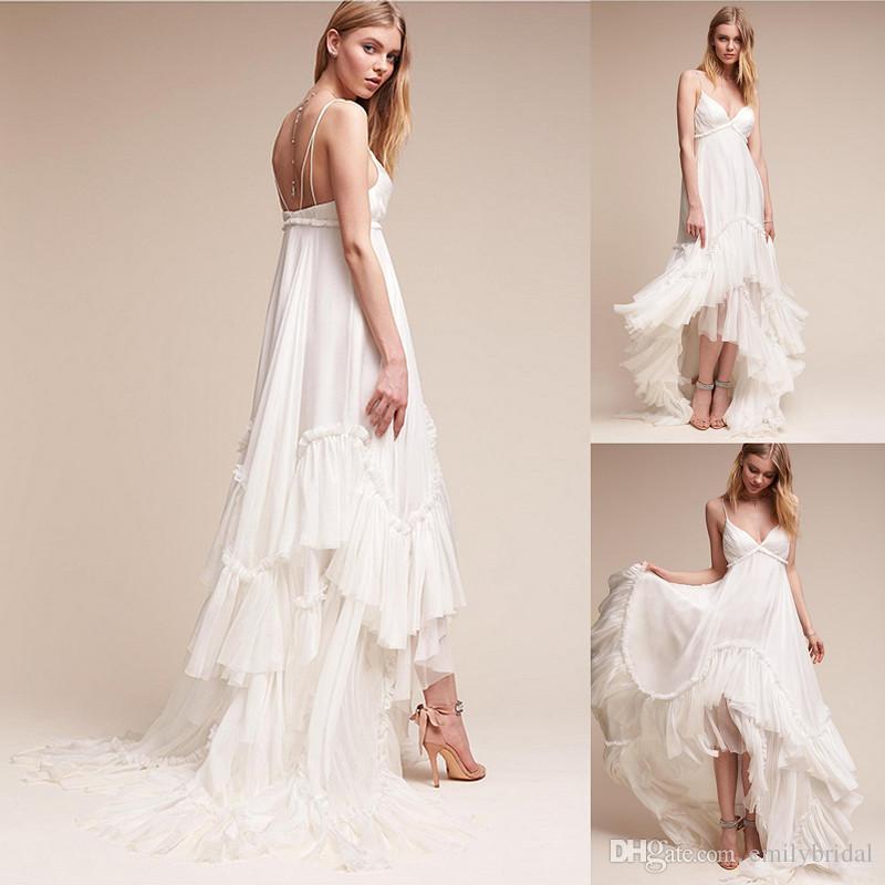 Discount Ivory Summer Beach Bridal Gowns Spaghetti Straps Boho ...