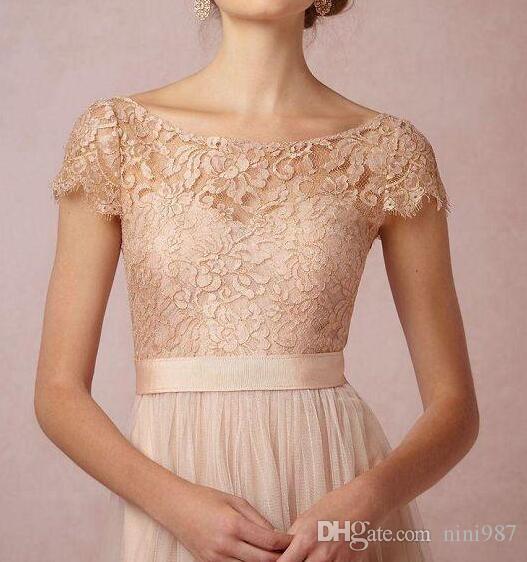 2017 Vintage Blush Spitze Lange Brautjungfern Kleider Illusion Bateau Neck Chiffon Capped Ärmeln Low Back A-Line bodenlangen Abendkleider