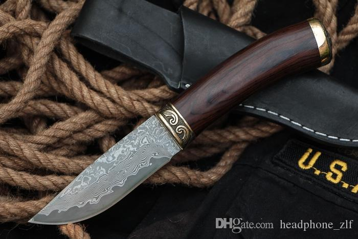 Drop Shipping Damascus Survival Hunting Knife Color Wood + Copper Head Handle Outdoor Camping Hiking Fixed Blade Knives With Leather Sheath