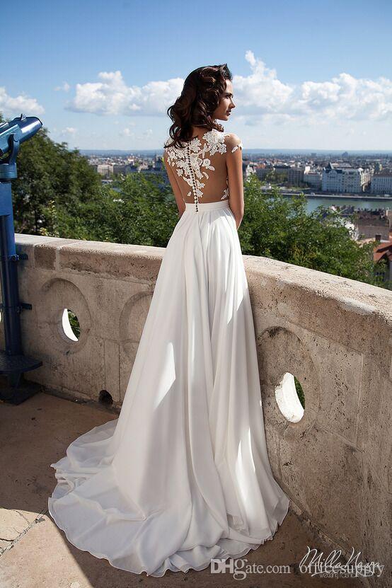 2019 Günstige Strand A-Line Chiffon Brautkleider Sexy See-through Sheer Neck Spitze Appliques Cap Sleeves Side Split Brautkleider nach Maß