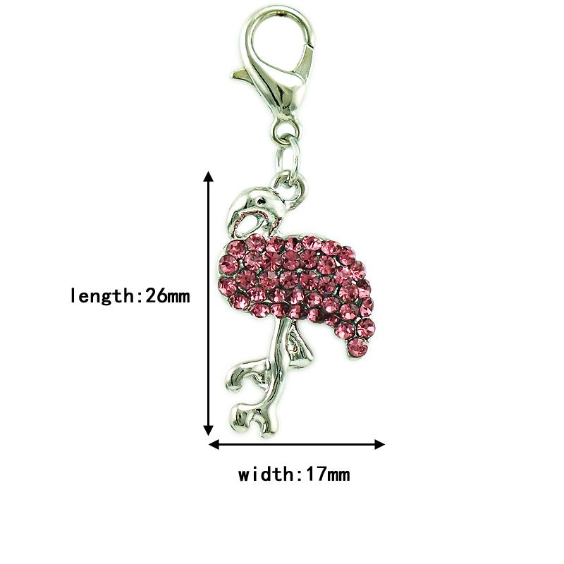 Fashion Lobster Clasp Flamingo Charms Dangle Pink Rhinestone Animal Pendants Charms For DIY Jewelry Making Accessories