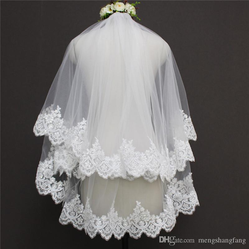 Real Image Two Layers Sequined Lace Edge Short Bridal Veil WITH Comb Elegant 0.9 Meter Wedding Veil Bridal Accessories