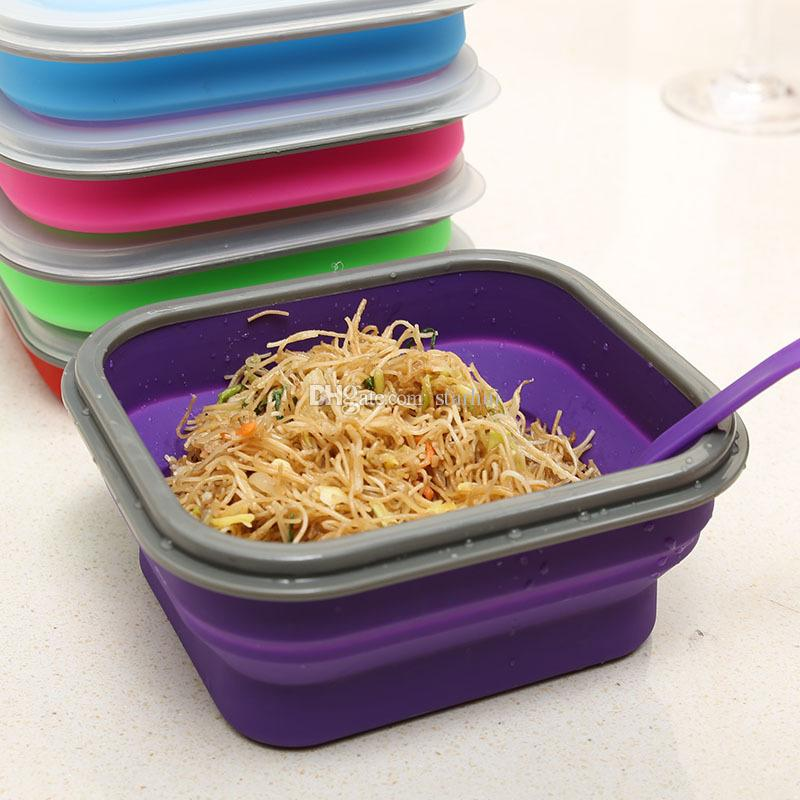 600ML Outdoor Portable Fold Lunch Boxs Silicon Microwave Dinnerware Lunchbox Bowls Container Baby Kids Box Dishes WX-C66