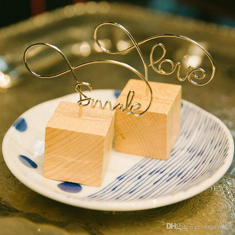 Fashion Letter Shape Wooden Memo Paper Note Picture Table Card Number Photo Clip Holder Handcraft Ornaments ZA5478