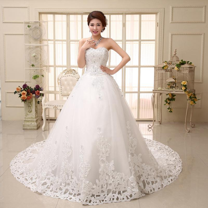 2018 New Bridal Wedding Gowns Ball Gown Long Train Lace Up Strapless Sexy Luxury Chapel Dresses For Bride Under 200 Hs531 Maid Of Honor
