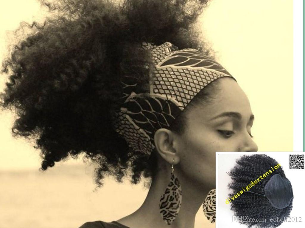 Natural big puff,Kinky Curly Ponytail Hair Extenions Clip in Unprocessed Real Brazilian Hair Ponytail Afro Kinky Curly natural puff human