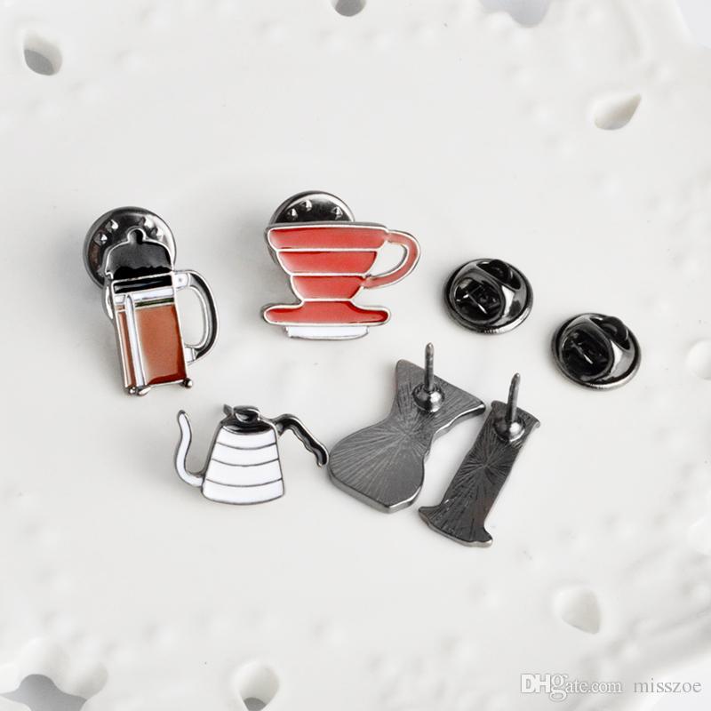미국 커피 Aeropress Chemex 필터 컵 브로치 데님 자켓 핀 셔츠 배지 패션 쥬얼리 선물 친구를위한 아이들