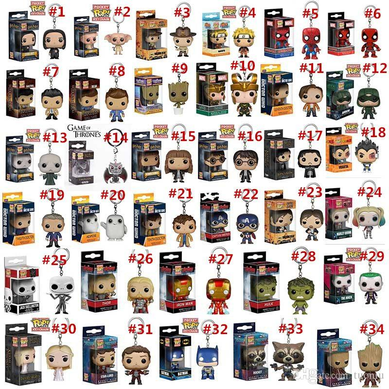 34 Designs Funko POP Action Figurines Toys Keychain Avengers Harry Potter Wonder Woman PVC Cartoon Action Figures Keychain Kids Gifts LA527