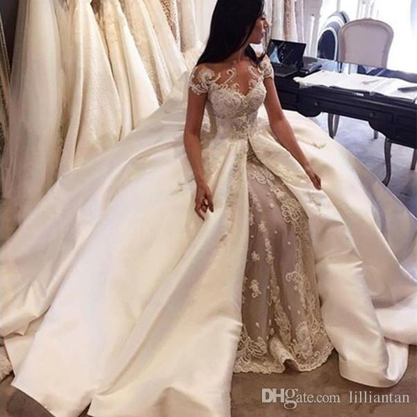 Fabulous Arabic Lace Wedding Dresses Sheer Lace Short Sleeve Applique Ball Gown Wedding Gowns with Satin Overskirt Dubai Bridal Gowns Custom