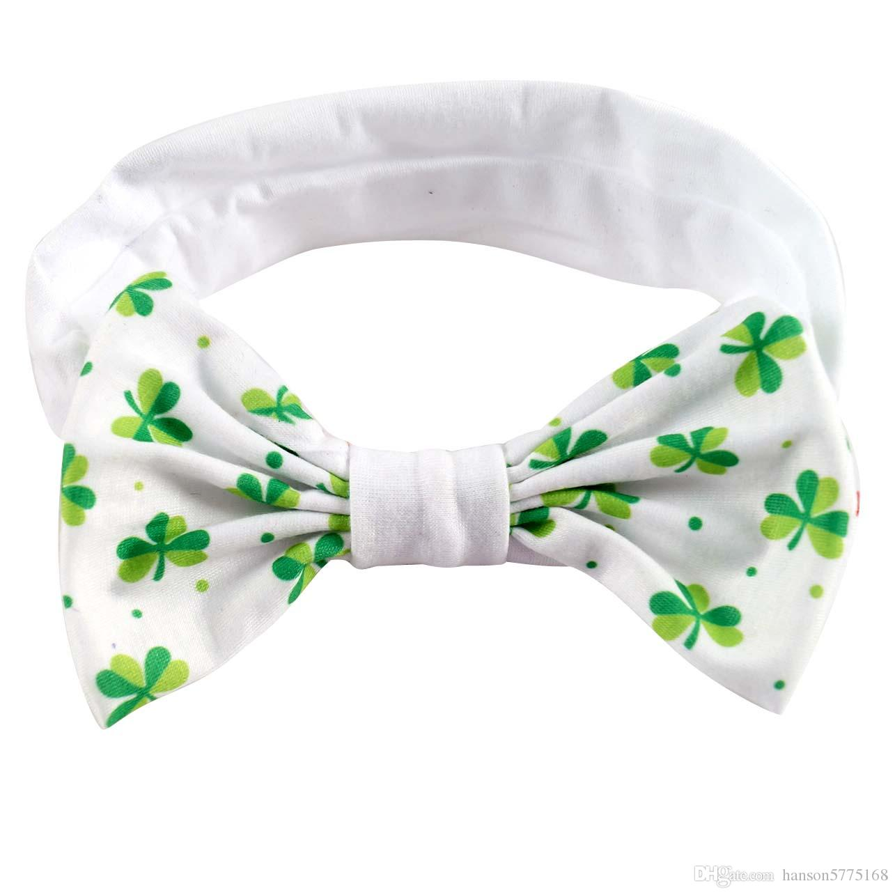 10 Pcs/lot New Fashion High Quality Clover Headband Shamrock Hairbands with Bow for Baby Girls Hair Accessories Headwear
