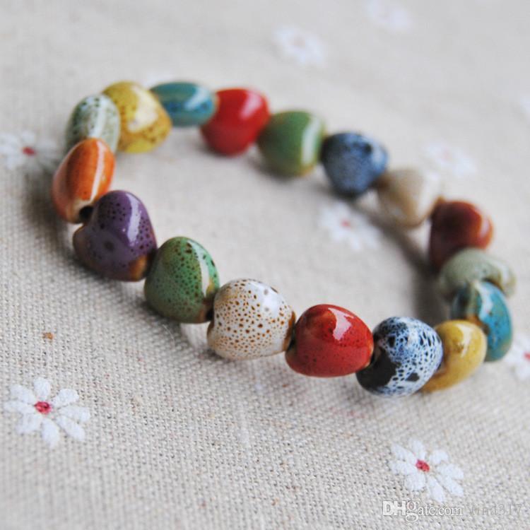 All'ingrosso -Jingdezhen specialità gioielli braccialetto di ceramica Handmade fiore smalto perline di porcellana Cinque perline braccialetto vulcano CB053