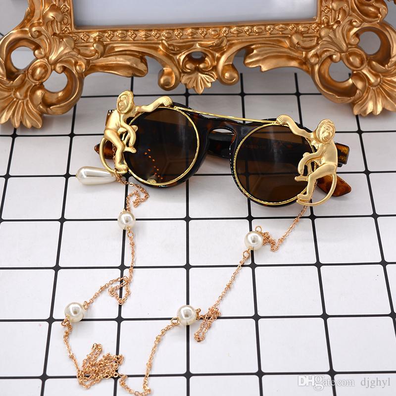 Новый бренд металл ретро рамка металл золото обезьяна барокко солнцезащитные очки роскошные Sun Beach металлическая цепь жемчужина круглый преувеличенные спортивные очки женщины