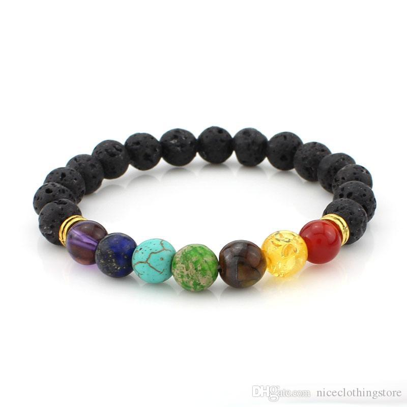 High quality Lava Rock Beads charms Bracelets Turquoise Tiger Eye Natural stone stretch Beaded Bracelet For women&men Fashion Jewelry