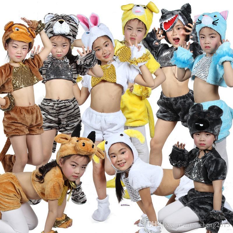 Unisex Kids Lovely Flannel Velvet Funny Animal Cartoon Costume Performance Cosplay Costume Fancy Animal Dress Up Tail Hat Outfit Suit