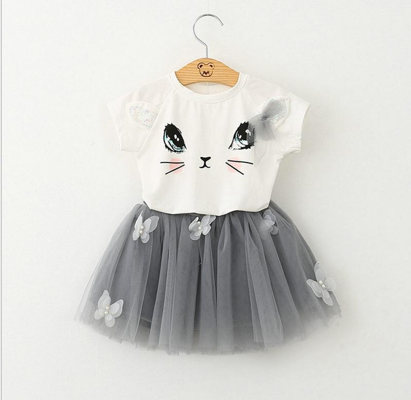 2017 Summer New Baby Girls Clothing Sets Fashion Style Cartoon Kitten Printed T-Shirts+Net Veil Dress Girls clothing kids outfits