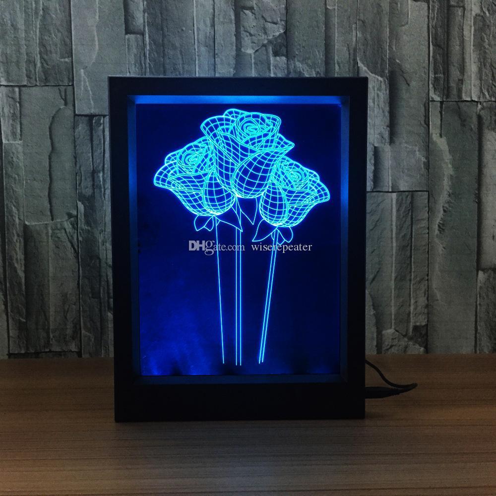 3D 장미 LED 사진 프레임 장식 램프 IR 원격 7 RGB 조명 DC 5V 공장 드롭 배송 색 선물 상자