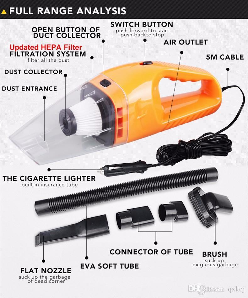 Авто аксессуары портативный 5 м 120 Вт 12 в мини-пылесос Ручной мини-супер всасывания мокрой и сухой двойного использования пылесос бесплатно