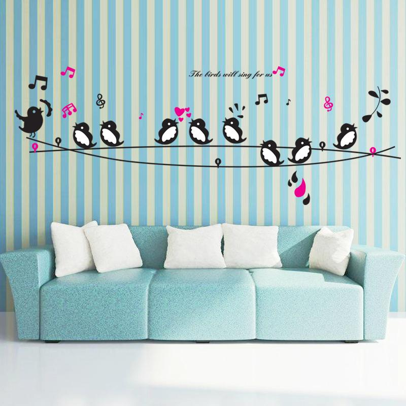 Cute Happy Birds Song Music Wall Stickers Living Room Bedroom Tv Sofa  Background Wall Decals Home Decor Art Mural Poster Decals For Wall Decals  For Walls ...