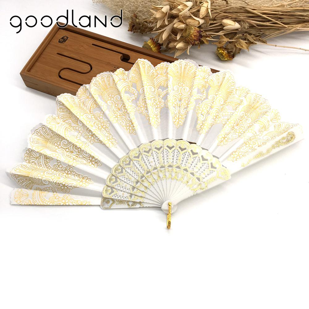 Plastic Hand Fan Sequins Rose Flower Embroidered Dancing Party Fan ...